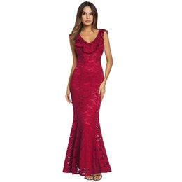 China Stock Cheap Ful Lace Mermaid Formal Evening Dresses Cap Sleeve Backless Beach Women Cocktail Party Gown Casual Formal Prom Wear Clothing suppliers
