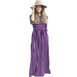 China casual Striped long maxi high quality women fashion 2018 autumn o neck slim tunic vestido de festa robe femme clothes cheap long white tunic dress suppliers