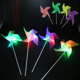 flashing windmill toys 2019 - Creative LED Flashing Flash Windmill Colorful Glow Light Up Toys For Kids Children Gifts Party Decoration ZA6090 cheap f