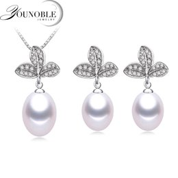 $enCountryForm.capitalKeyWord UK - Classic Women Jewelry Sets Women,Natural Freshwater Water Drop Pearl 925 Sterling Silver Jewelry for Girls Party Gift in Box