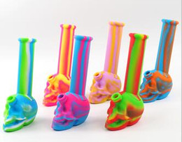 "smoking tobacco products Australia - 8.6"" 3D skull silicone smoking water smoking pipe for wax oil herb tobacco with glass bowl wholesale unbreakable new product"