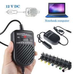 Wholesale Universal W DC Car Charger Laptop Notebook Adapter Adjustable LED Auto Power Supply Set Detachable Plugs Computer Charger