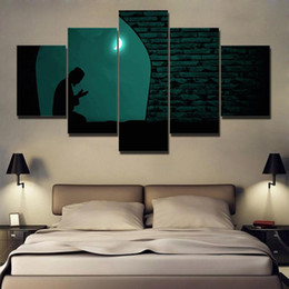 $enCountryForm.capitalKeyWord Australia - Canvas Paintings Home Decor Framework HD Prints Pictures 5 Pieces Muslim Praying At Night Under The Moon Islam Poster Wall Art