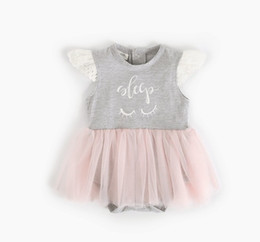 46fa420c4 Baby Girls Letter Gauze Dress Rompers Summer Kids Boutique Clothing Euro  America Hot Sale Infant Toddler Wing Sleeves Bodysuits