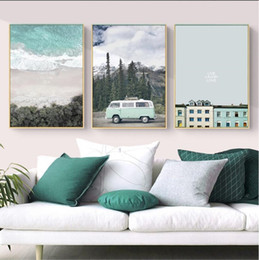$enCountryForm.capitalKeyWord NZ - No Frame Nordic Landscape Combination of Sea Mountains and Rivers Building Car Canvas Art Home Decoration Painting