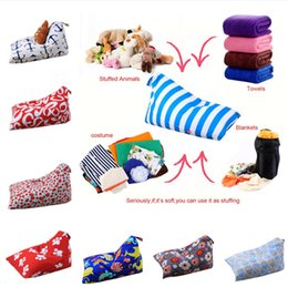 heart shaped chairs NZ - 79 design Diamond Shape Storage Bag Kids Stripe Stuffed Animal Plush Toy Storage Bean Bag Soft Pouch Stripe Fabric Chair Sofa Toys Bag LC795