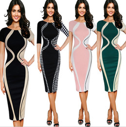Wholesale office cocktail dresses resale online – women elegant short sleeve tunic bussiness work casual cocktail party bodycon pencil sheath wiggle midi office dress
