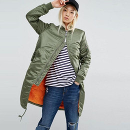 female military jackets 2019 - New Fashion Winter Long Jackets Female Coat Casual Military Olive Green Bomber Jacket Women Basic Coats discount female