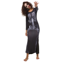 Wholesale sexy devil costumes women online – ideas Halloween Vampire Long Dress Skeleton Printed Horror Theme Cosplay Devil Costumes Sexy Black Full Sleeve Nightclub Uniform