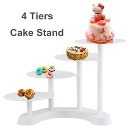 cupcake display tier NZ - 4 Tiers Cake Stand Plastic Cupcake Dessert Display Holder Wedding Decoration Birthday Party Cake Decorating Supplies White
