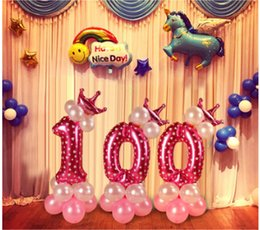 Children Number Aluminum Film Balloons Pink Blue Column Stand Kids Balloon 0 9 Year Old Birthday Party Decor