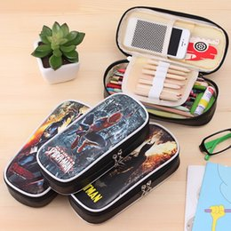 Kids Stationery Pencil Cases NZ - Hero series zipper pencil case for kids PU leather pencil bag big capacity stationery pouch office school supply