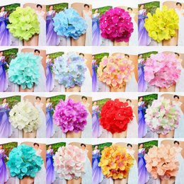 Discount hair decorations for brides - 6 Inch Artificial Flowers Hydrangea Decorative Silk Flowers Head Fake Flower For Wedding Wall Arch DIY Hair Flower Home