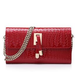 Fashion Women Clutch Bag Genuine Leather Women s Flap Bag Chain Strap  Female Shoulder Day Crossbody Bags Knit Pattern e7ebf6fff8c44