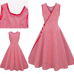 e992b461f1b6 Cheap 2019 Red Striped Women Casual Dresses Plus Size Swing Retro Women  Party Gowns 1950s 1960s Women Work Dress Plus Size 4XL FS3868