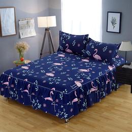 cotton bedsheet wholesaler 2019 - Bedskirt Flamingo print bedsheet set twin full queen king size bed set mattress protective pillowcase 120 140 150 160 18