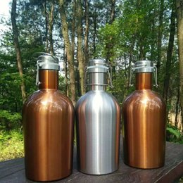 Hip Flasks Wholesale Canada - 64oz Stainless Steel Hip Flasks 3 Color Beer Growler Swing Whiskey Cold Beer Bottle With Lid Hip Flask Wine Pot WX9-260