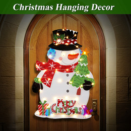 Christmas Ornament Flashing Australia - Christmas Warm LED Glowing Snowman Hanging Ornaments Paper Board Material 43x27cm On Flash Off DIY Christmas Tree Party Decor