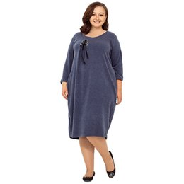 3413523e8d2 2018 5XL 6XL Autumn Winter loose casual dress knee length plus size women  clothing solid dresses large sizes blue navy Vestidos