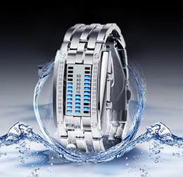 $enCountryForm.capitalKeyWord NZ - binary LED watch men women wrist luxury alloy steel band waterproof lovers watches black silver day date hand clock