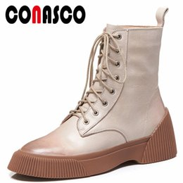 1f30293b6489 CONASCO Basic Ankle Boots Wedges High Heels Corss-tied Motorcycle Boots  Ladies Autumn Winter Short Martin Shoes Woman
