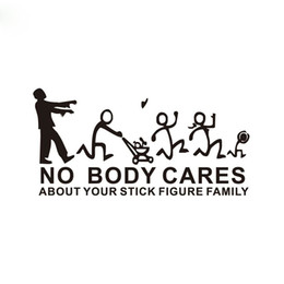 Chinese  22*10cm Zommin No Body Cares About Your Stick Figure Family car sticker CA-0041 manufacturers