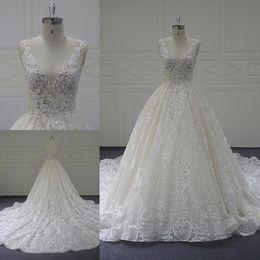 Designs Dress online shopping - Deep V Neck Sleeveless Wedding Dresses Open Back Lace Appliques Beaded Custom Made Bridal Dresses Latest Design Wedding Gowns