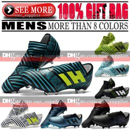 Chaussettes En Cuir Pas Cher-Original New 2018 Hommes Cuir Nemeziz 17 + 360 Agilité FG Football Bottes Sans Lacet Nemeziz 17.1 Football Tango Chaussures En Plein Air Football Crampons Chaussettes
