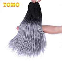 $enCountryForm.capitalKeyWord Australia - TOMO ombre Black Grey Braided Crochet Hair Senegalese Twist Braids Kanekanlon Synthetic Braiding Hair Extensions For Woman 30 Roots Pack
