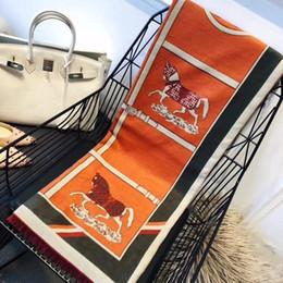 $enCountryForm.capitalKeyWord Australia - Luxury Women Horse Print Winter Warm Pashmina France Blanket Shawls Poncho Stole Orange Vintage Joker Long Pashminas