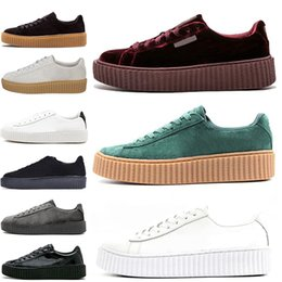 c9857dcfc8a 2019 Rihanna Fenty Creeper Cleated Cracked Leather Suede Velvet Basket  Platform PUMO PUM Outdoor Shoes Athletic Casual Shoes Sneakers 36-44