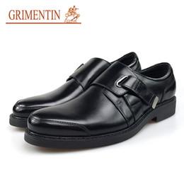 $enCountryForm.capitalKeyWord NZ - GRIMENTIN Hot Sale Luxury Mens Dress Shoes Genuine Leather Brown Black Round Toe Buckle Strap Formal Business Wedding Men Office Shoes