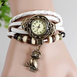 Owl Bracelet Watches NZ - Women Retro Braided Faux Leather Bracelet Owl Decor Beaded Quartz Wrist Watches