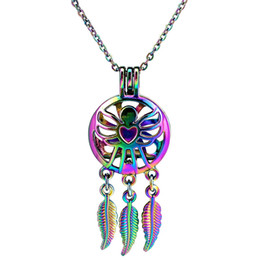 $enCountryForm.capitalKeyWord Australia - C826 Rainbow Color Dream Catcher Butterfly Angel Wing Beads Cage Pendant Essential Oil Diffuser Aromatherapy Pearl Cage Necklace