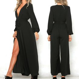 $enCountryForm.capitalKeyWord NZ - Sexy V-Neck Comfortable Casual Long Sleeve Jumpsuit Trousers Wide Leg Split Pants Elegant Black Rompers For Women