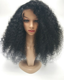 Kinky Curly Human Hair Afro Wigs Australia - Glueless Lace Front Wig In Stock 5A Mongolian Afro Long Kinky Curly Hair Wig Kinky Curly Full Lace Human Hair Wigs
