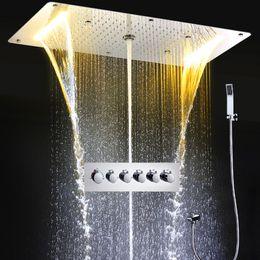 $enCountryForm.capitalKeyWord NZ - Shower Column Modern Rain Shower System Thermostatic Mixer Large Waterfall Massage Douche Spa Panel Set with hand