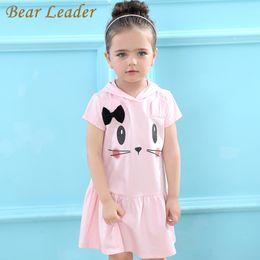 Leaders Clothing Canada - Bear Leader Girls Dress 2017 Brand Hooded Cartoon Baby Girls Dress Active Cartoon Cats Pattern Children Clothing 2-6 year