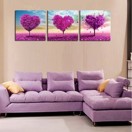 cheap wall canvas prints Canada - Home Decoration living room Wall picture canvas painting Print cuadros Purple Loving Heart Trees Art Cheap Picture