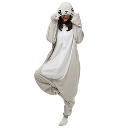 Animal Halloween Costumes For Women NZ - Seal Women Men Animal Kigurumi Polar Fleece Costume for Halloween Carnival New Year Party welcome Drop Shipping