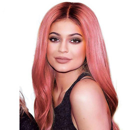 Chinese  LIN MAN Ombre Pink Color Lace Front Human Hair Wig with Baby Hair Pre-Plucked Hairline Remy Hair Brazilian Straight Glueless Wig manufacturers