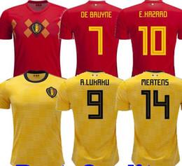 2018 World Cup Belgium Soccer Jersey LUKAKU DE BRUYNE HAZARD Home Red Away Football  Shirts MEUNIER National Team Short Jerseys Mens Uniforms ca15d547d