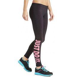 Sex Yoga Pants UK - Women Sport Sex Yoga Leggings Just Do It Leggins Elastic Tight fitting Pants Slim Fitness Pencil Fashion Trousers CNY471