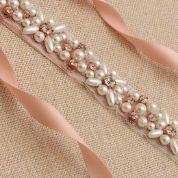 $enCountryForm.capitalKeyWord NZ - Rose Gold Wedding Sashes 2019 New luxury Rhinestone Pearls Belt Wedding Dress accessories Belt 100% hand-made Bridal Sashes For Prom Party