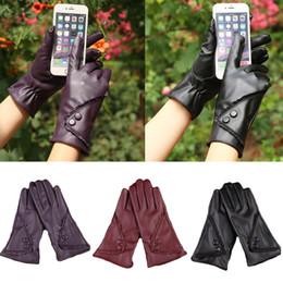 Leather Wrist Gloves Australia - YJSFG HOUSE Hot Women Winter Warm Gloves Pu Leather Lace Outdoor Driving Glove Mittens Wrist Ladies Fashion Biker Party Gloves