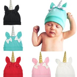 summer beanie hats 2019 - Baby unicorn bow hats caps Autumn toddler hats girls ears beanie hats babies bonnet top hat baby photography props LC699