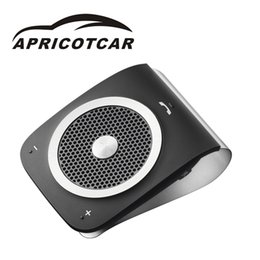 Discount bluetooth visor clip - APRICOTCAR New Handsfree Bluetooth Car Kit Noise Cancelling Multipoint Wireless Clip on Sun Visor Portable Car Audio