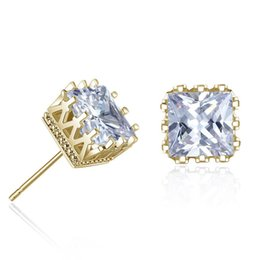 0c8da7c235ff Gold Silver Color Men Cubic Zirconia Crystal Square Stud Earrings Hollow  Out Crown Men CZ Diamond Earrings for Male Boy Cool Jewelry