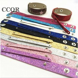 $enCountryForm.capitalKeyWord NZ - 10pcs 8mm*100mm+18mm*200mm Snap PU Sequin Bling Leather Bracelets DIY Accessories Fit 8mm Slide Charms, Slide Beads, Letters