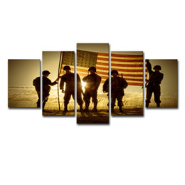 Canvas Photo Prints Australia - 5 Pieces Silhouette Of Soldiers With American Flag Photos Home Wall Decor Canvas Picture Art HD Print Painting On Canvas Artwork